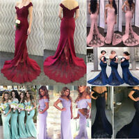 Off Shoulder Bridesmaid Dress Mermaid Long Evening Formal  Prom Party Ball Gowns