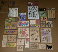 Lot of Crafting Rubber Ink Stamps Flower Fern Butterfly Rose Maple Leaf