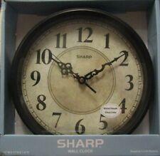NEW! Sharp Wall Clock Black Vintage Style Farmhouse Country Antique Quartz