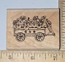 Flowers in a Wheelbarrow Garden Stampin Up! Wood & Foam Rubber Stamp