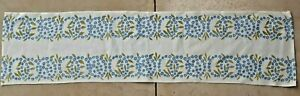 White table runner with blue floral design from Sweden