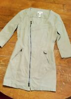 DIESEL Women's RN93243 Khaki Zip Up Front Long Jacket Size Small EUC