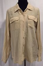 Orvis Women's M 100% Silk Shirt Blouse Top Beige Washable Quick Dry Long Sleeve