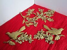 "Vintage Set 3 Homco Syroco Dogwood Floral & Birds Wall Plaques Gold 19""across"
