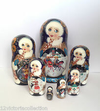 Russian Winter Troika Nesting DOLL Hand Carved Hand Painted Babushka Collectible