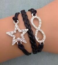 Bracelet noir strass avec etoile et lien infini en strass. top tendance