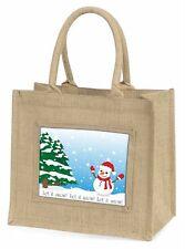 Snow Man Large Natural Jute Shopping Bag Christmas Gift Idea, Snow-1BLN