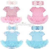 Newborn Baby Girls Cotton Romper Tutu Dress Headband Outfits 2Pcs Set Clothes