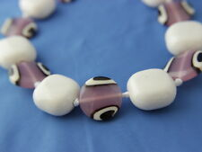 Large Statement Necklace Glass Pink Black White Beads Ribbon Cord Handcrafted