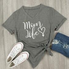 Women's Clothes Mom Life Heart T-shirt New T-shirts Tops Simple Letter Print SG