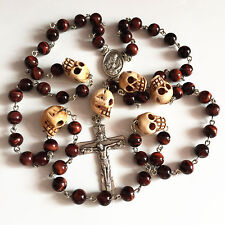 Tiger Eye Bead Tibet oxe Bone Skull Rosary CRUCIFIX CATHOLIC NECKLACE CROSS gift