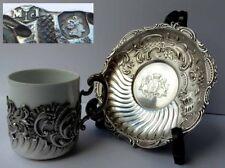 Kaffee-Tasse + Untertasse, Rokoko, Frankreich Paris, Adelswappen, Silber G836