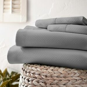 Chevron Embossed Bed Sheet Set - Extra Deep Pocket Ultra Soft by Home Collection