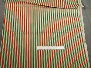 """2 Yds RED, GREEN & WHITE COTTON STRIPE by Cranston Print Works - 44"""" Wide"""