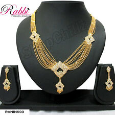Rabbi Antique Gold Plated Ranihar / Bridal Necklace Set With Earrings