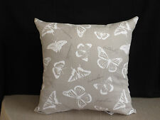 Neutral Taupe White Butterfly Text Insect Feature Cushion Cover 45cm  Au Made