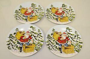 New Williams Sonoma Santa Vintage Holiday Christmas Appetizer Desert PLATE s 4