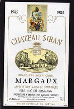 MARGAUX GCE VIEILLE ETIQUETTE CHATEAU SIRAN 1985 DECOREE  §17/11/16§