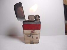 RARE SCRIPTO VU CIGARETTE LIGHTER RED BAND WITH FLOATING BOWLING MAN- WORKS
