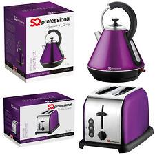 Purple Toaster Kettle 2 Slice 1.8L Swivel Wide Slot Bread Electric Set Cordless