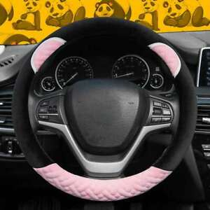 UKNEST COTTON PINK BK STITCH STEERING WHEEL COVER GLOVE FOR UNIVERSAL CARS