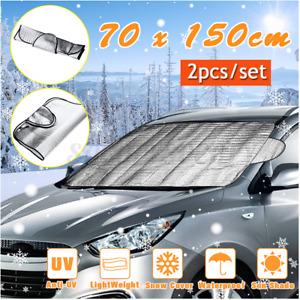 2pcs Car Windscreen Snow Cover Winter Ice Frost Guard Sun Shade Protector Mat