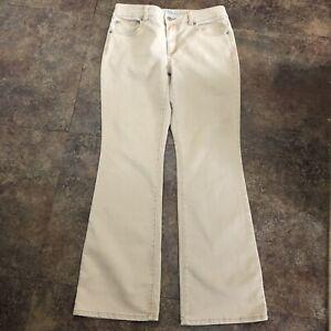 Chicos Platinum Jeans Size 0.5 Beige Gold Denim Flare Leg Sz S Ultimate Fit