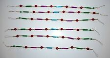 Glass CHRISTMAS GARLAND Blue Purple Green Tube Bead Drapes 6 Sections 12 Ft Tot