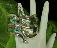 BALLADERES TAXCO Clamper Bracelet STERLING Silver & ABALONE Mid Century MEXICO