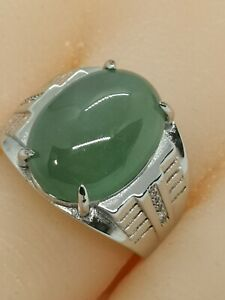 Ice Green Burmese Jadeite Jade Ring/冰晴绿缅甸翡翠戒指
