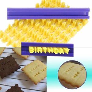 DIY Alphabet Number Letter Cookie Biscuit Stamp Cutter Embosser Cake Mould UK