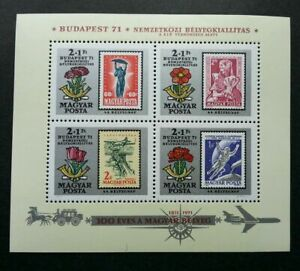 [SJ] Hungary BUDAPEST '71 Flowers 1971 Transport Vehicle Airplane Horse (ms) MNH