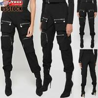 Womens Casual High Waist Cargo Pants Leggings Ladies Punk Gothic Jogger Trousers