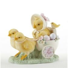 Easter Chicks Pulling Cart with Bird and Eggs Figurine New
