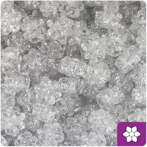 *3 FOR 2* 50 Silver Sparkle Flower Shape Highest Quality 13mm Pony Beads