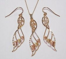 Black Hills Gold 10 kt 12 kt Feather Design Pendant Necklace Earrings Coleman