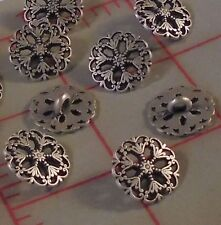 12 Beautiful Metal Filigree Buttons Little Star Center Ant. Silver Color SM 15mm