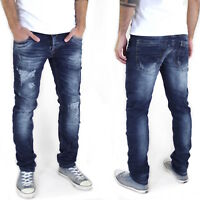 X-Three |Herren Slim Fit Jeans Hose | Destroyed Look | Stretch |Blau | M112