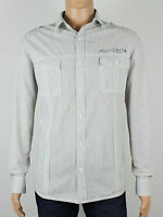 Next 377-227 mens grey stripe long sleeve shirt size large xl (M5029)
