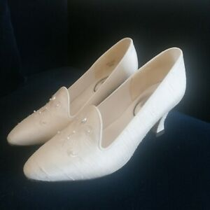 Vintage 1990s Silk Wedding Shoes Size 4.5 Rainbow Club Selina with Box.