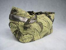 Ladies Large Handbag with Silver Handles Large Green Leaf Design Bag  Tote