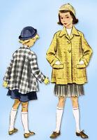 1950s Original Vintage McCall Sewing Pattern 9167 Little Girls Swing Coat Sz 10