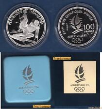 Coffret Albertville J.O Hiver 100 Francs 1990 BE FDC Slalom Moderne Belle Epoque