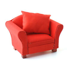 Sessel mit Kissen rot Modern red armchair 1:12 Art. DF1157 Puppenstube