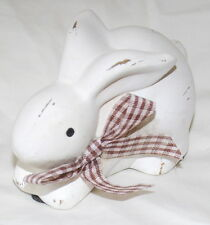"""Bunny Rabbit, Terracotta, Antique White, New, Easter, Spring, 2"""" Tall x 4"""" Wide"""