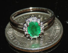 Solid 9K Gold Earth Mined Emerald Diamond Ring Size 6 TCW 0.83 ct 1.92 Grams