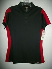 NWT DICKIE'S WOMEN'S BLACK & ENGLISH RED 3 BUTTON POLO SIZE SMALL