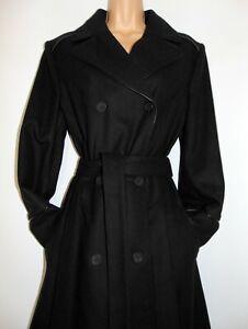 NWT Laura Ashley Vintage Black Wool Leather Trim Heavy Winter Coat - Size UK 16