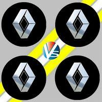 4 adhésifs stickers RENAULT noir logo chrome 40 à 100 MM pour centre de jantes