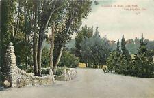 Los Angeles California~Entrance to West Lake Park~Stone Pillars~1910 Postcard